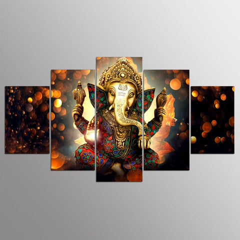 Ganesh Elephant God-5 Panel-Canvas Bros