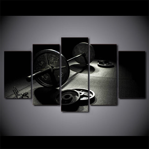 Image of B&W Barbells-5 Panel-Canvas Bros