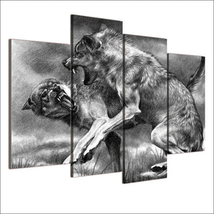 Fighting Wolves-4 Panel-Canvas Bros