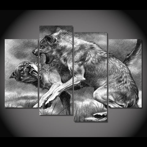 Image of Fighting Wolves-4 Panel-Canvas Bros