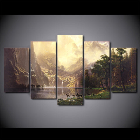 Image of Mountain Lake-5 Panel-Canvas Bros