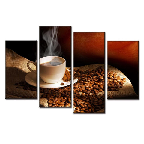 Image of Cocoa Coffee Beans-4 Panel-Canvas Bros