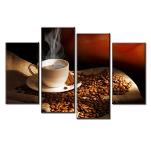 Cocoa Coffee Beans-4 Panel-Canvas Bros