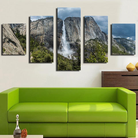 Image of Yosemite Falls Forest Waterfall-5 Panel-Canvas Bros