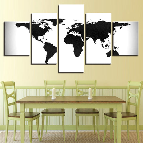 Image of B&W World Map-5 Panel-Canvas Bros
