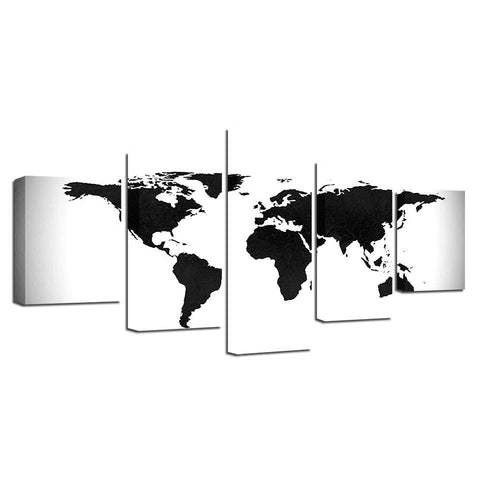 B&W World Map-5 Panel-Canvas Bros