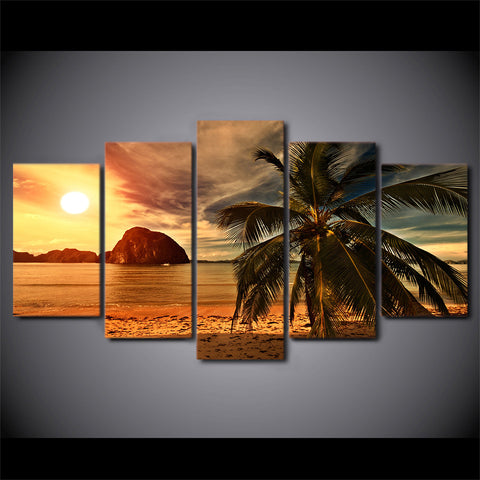 Image of Tropical Sunset-5 Panel-Canvas Bros