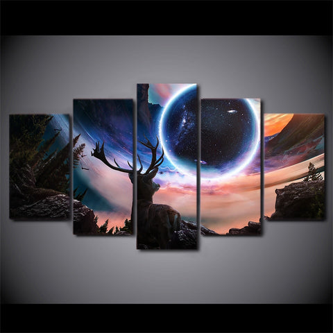 Image of Abstract Space Deer-5 Panel-Canvas Bros