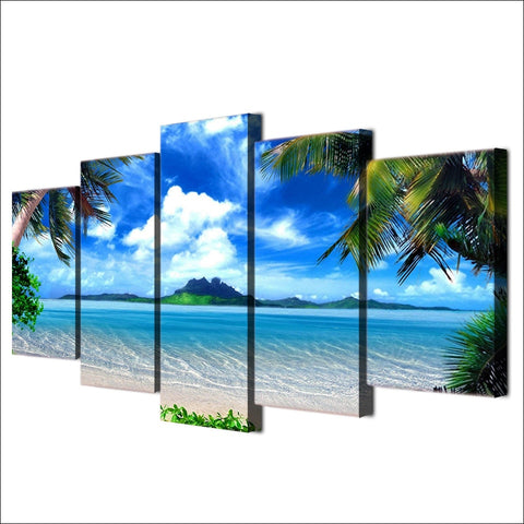 Palm Tree Beach-5 Panel-Canvas Bros
