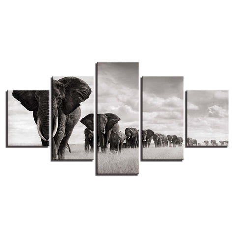 Image of BEST SELLER Elephant Heard-5 Panel-Canvas Bros