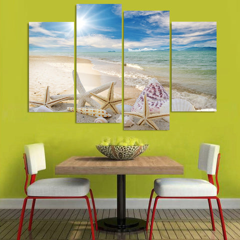 Image of Beach Sea Shell-4 Panel-Canvas Bros