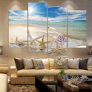 Beach Sea Shell-4 Panel-Canvas Bros