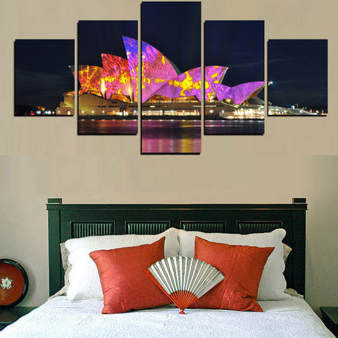 Image of Sydney Opera House at Night-5 Panel-Canvas Bros