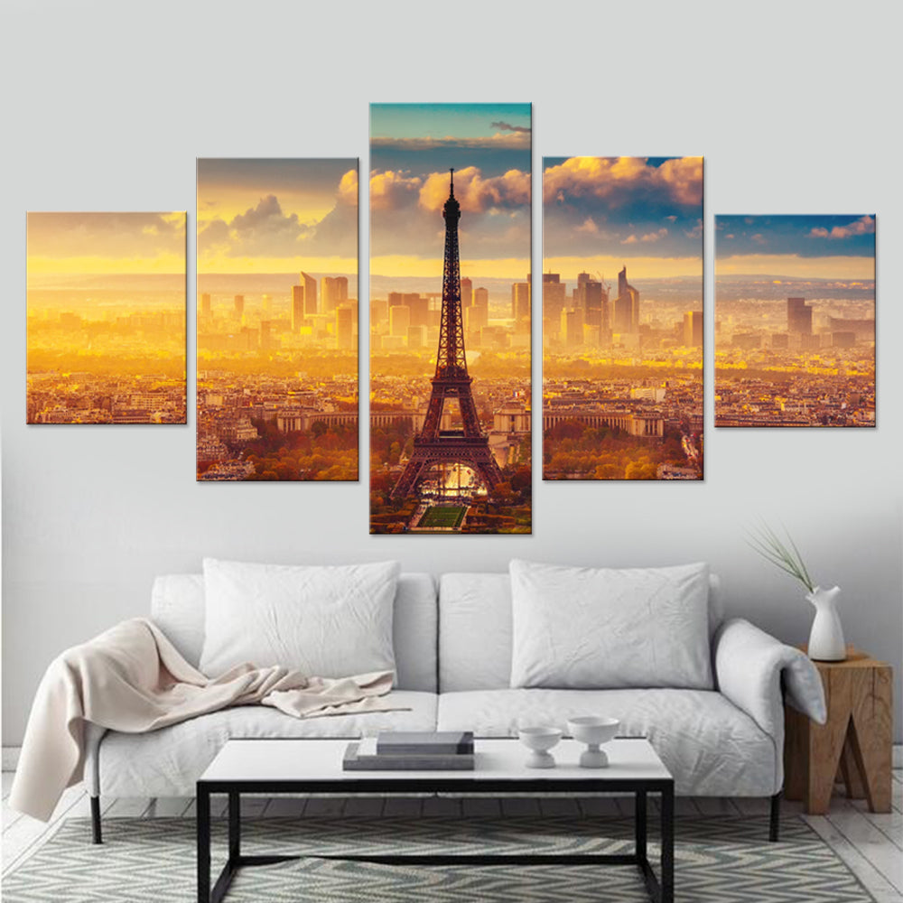 Stunning Abstract Paris City-5 Panel-Canvas Bros