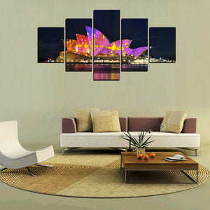 Sydney Opera House at Night-5 Panel-Canvas Bros