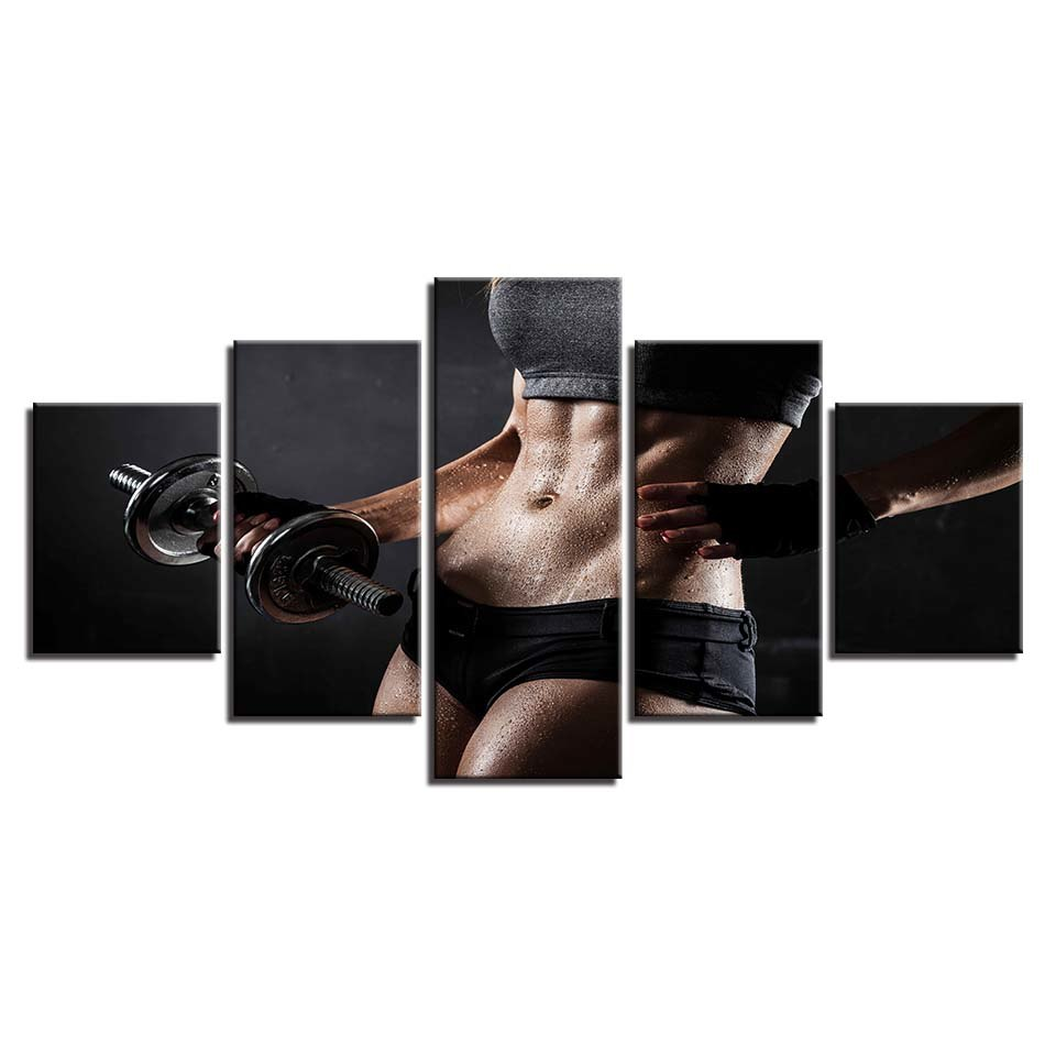 Dumbbell Bodybuilding-5 Panel-Canvas Bros
