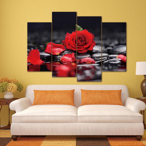 Image of Red Rose Petals-4 Panel-Canvas Bros