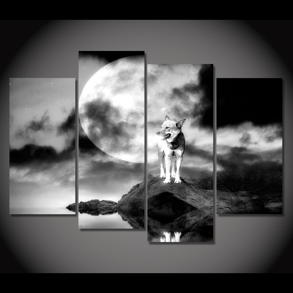 Wolf, Rock, Moon.-4 Panel-Canvas Bros