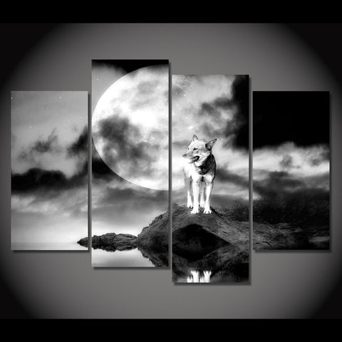 Image of Wolf, Rock, Moon.-4 Panel-Canvas Bros