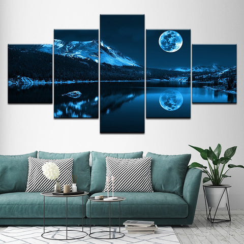 Abstract Blue Moon-5 Panel-Canvas Bros