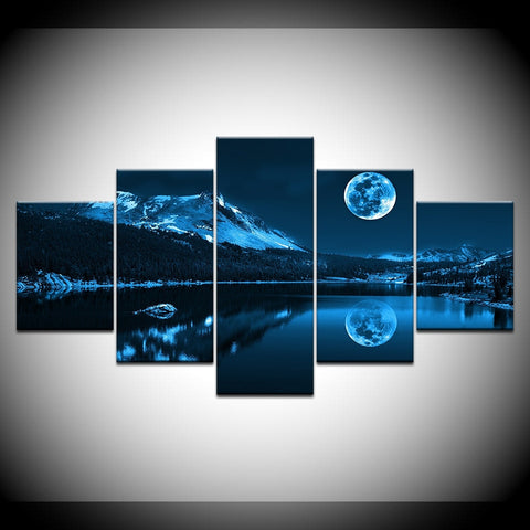 Image of Abstract Blue Moon-5 Panel-Canvas Bros
