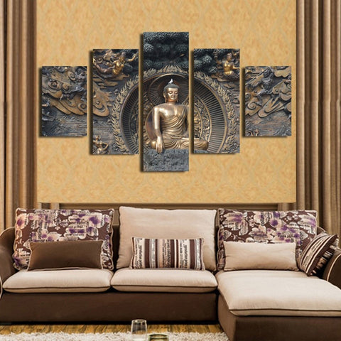 Image of Buddha-5 Panel-Canvas Bros