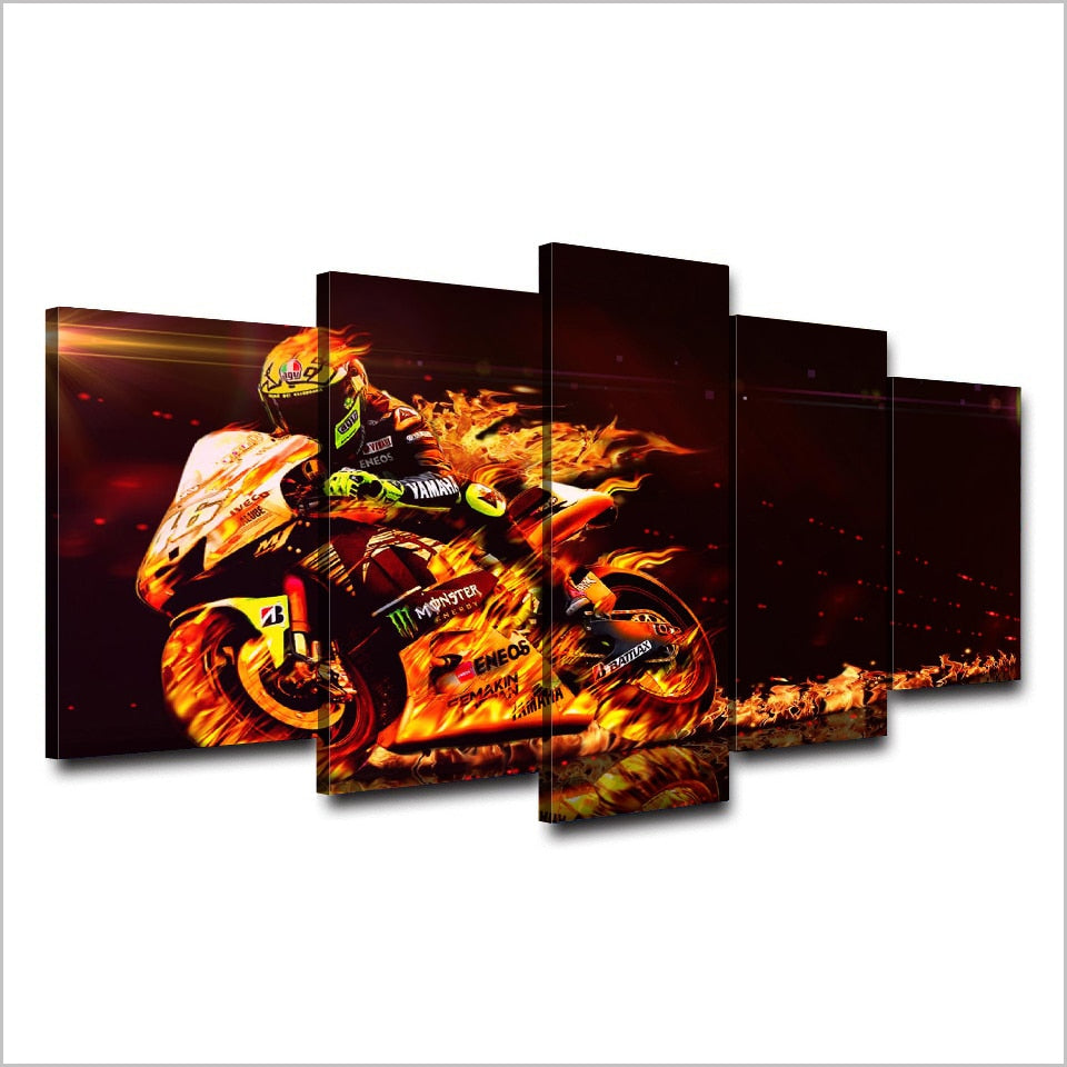 Valentino Rossi Flaming Bike-5 Panel-Canvas Bros