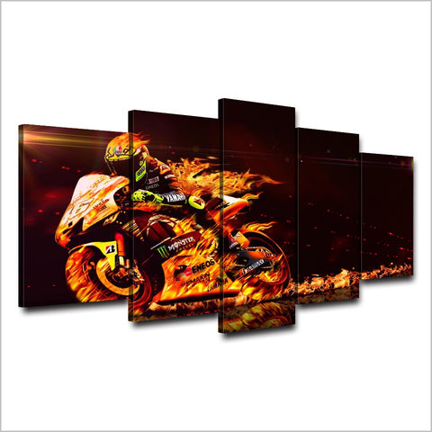 Image of Valentino Rossi Flaming Bike-5 Panel-Canvas Bros