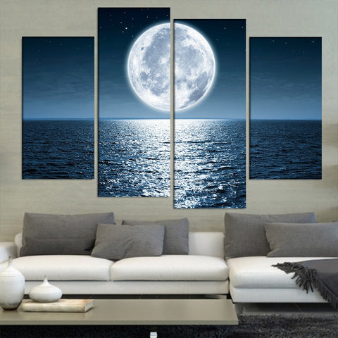 Full Moon Seaview-4 Panel-Canvas Bros
