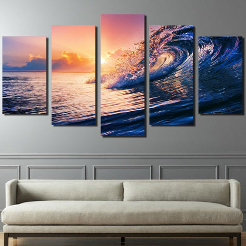Image of Waves at Sunset-5 Panel-Canvas Bros
