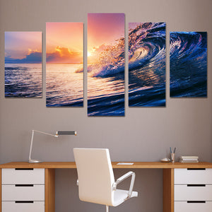 Waves at Sunset-5 Panel-Canvas Bros