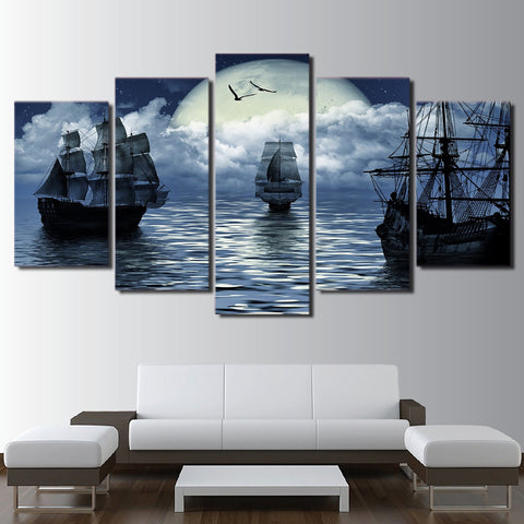 Image of Sailing Sea-5 Panel-Canvas Bros