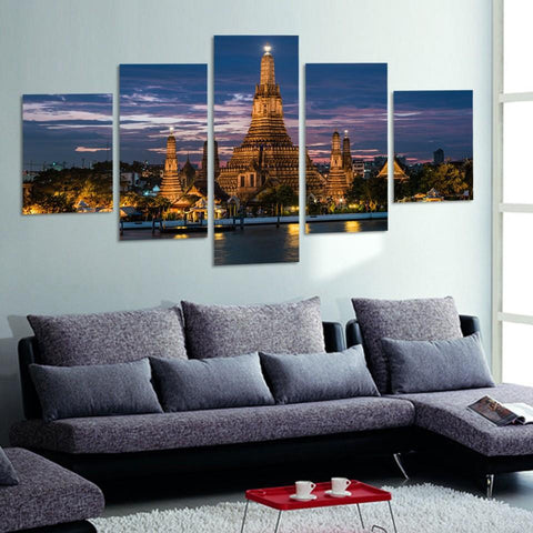 Image of Thai Architecture-5 Panel-Canvas Bros