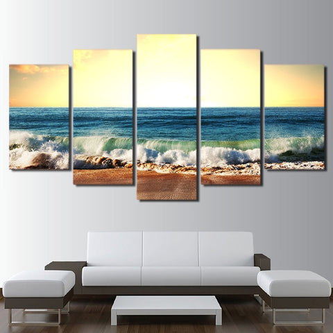 Image of Beached Rolling Waves-5 Panel-Canvas Bros