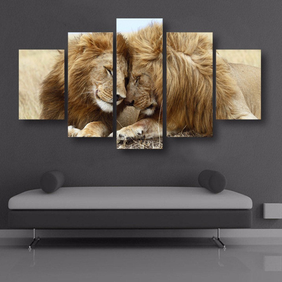 Lion Love-5 Panel-Canvas Bros