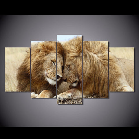 Image of Lion Love-5 Panel-Canvas Bros