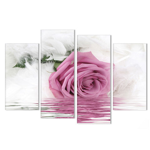 Image of Feather Pink Rose-4 Panel-Canvas Bros