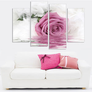 Feather Pink Rose-4 Panel-Canvas Bros