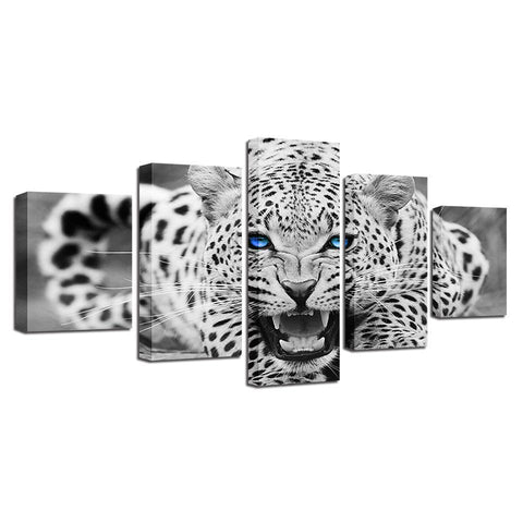 Image of Blue Eyed White Leopard-5 Panel-Canvas Bros