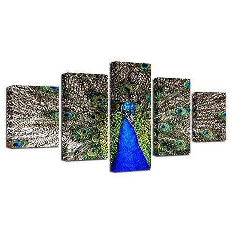 Image of Stunning Peacock-5 Panel-Canvas Bros
