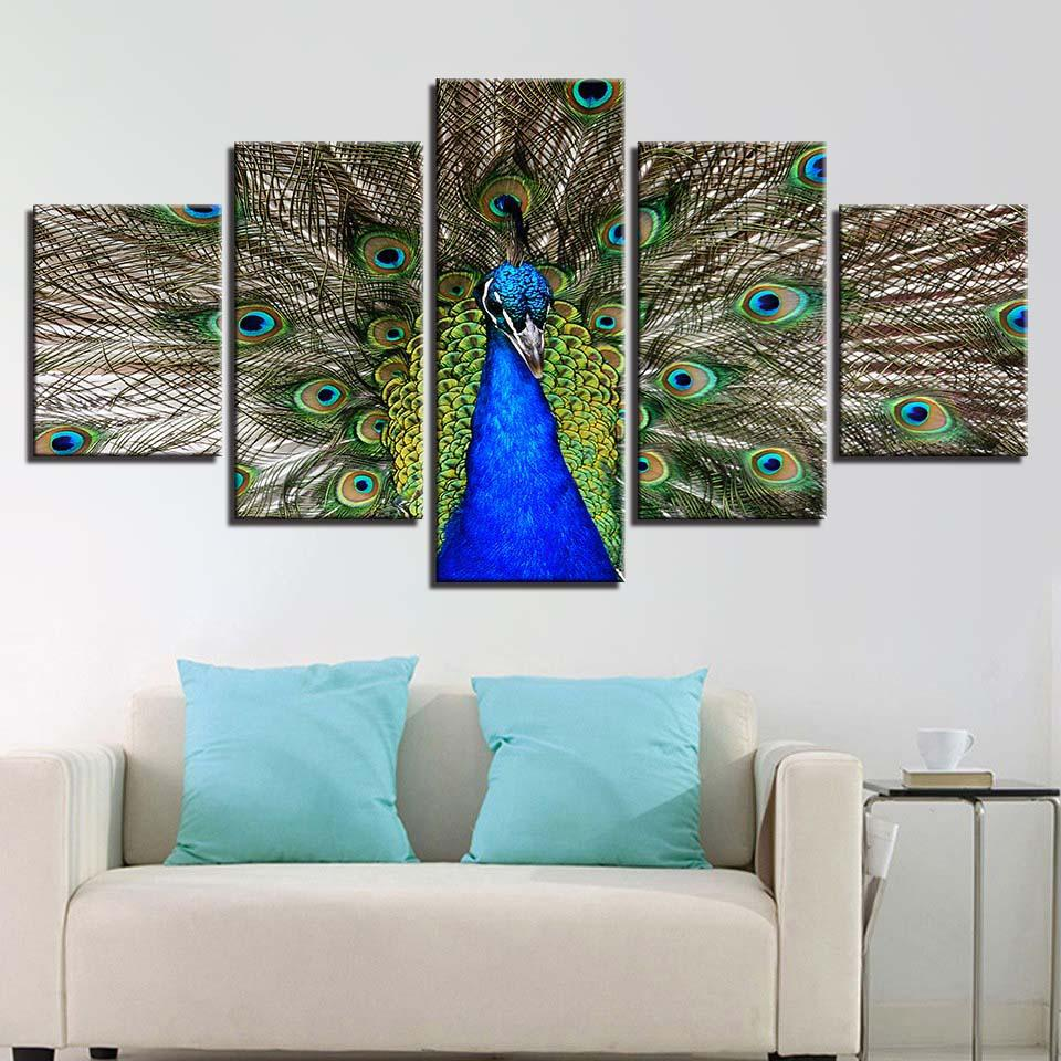 Stunning Peacock-5 Panel-Canvas Bros
