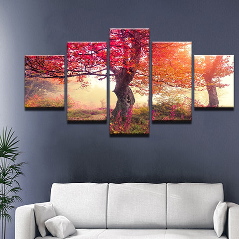 Red Maple Tree-5 Panel-Canvas Bros