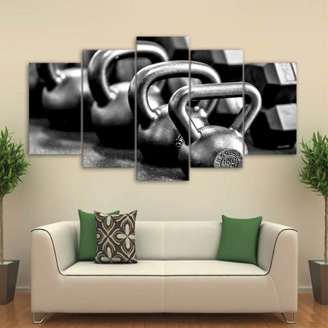 Image of B&W Dumbbells-5 Panel-Canvas Bros