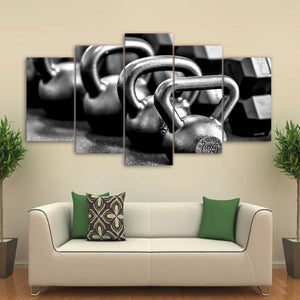 B&W Dumbbells-5 Panel-Canvas Bros