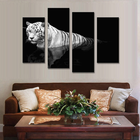 Image of White Tiger Reflection-4 Panel-Canvas Bros