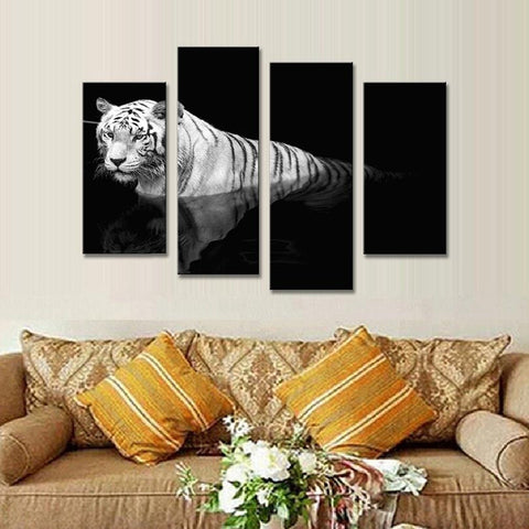 White Tiger Reflection-4 Panel-Canvas Bros