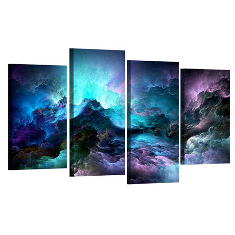 Abstract Blue Clouds-4 Panel-Canvas Bros