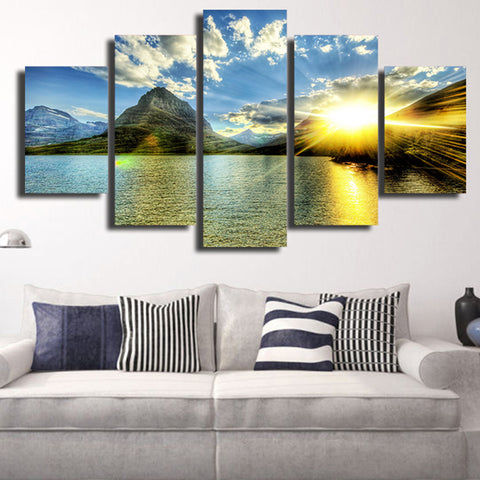 Image of Sunrise Mountain-5 Panel-Canvas Bros