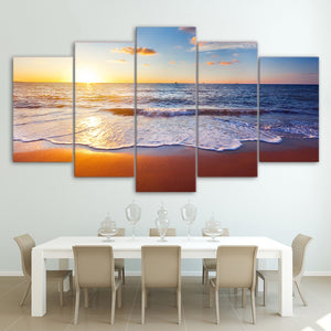Beach Sunset-5 Panel-Canvas Bros