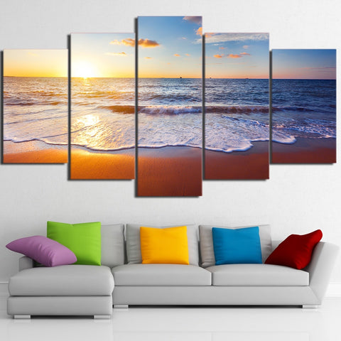 Image of Beach Sunset-5 Panel-Canvas Bros